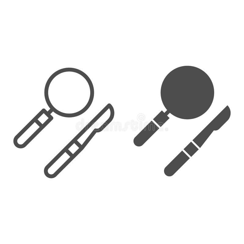 Chirurgisch instrumentenlijn en glyph pictogram Medische apparatuur vectordieillustratie op wit wordt geïsoleerd Scalpel en lens royalty-vrije illustratie