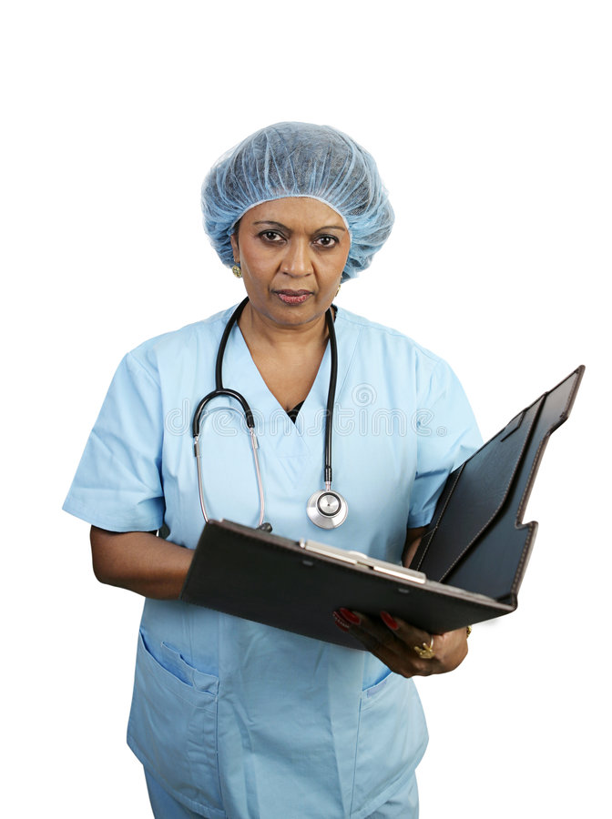 Chirurgische Krankenschwester - ernst lizenzfreie stockbilder