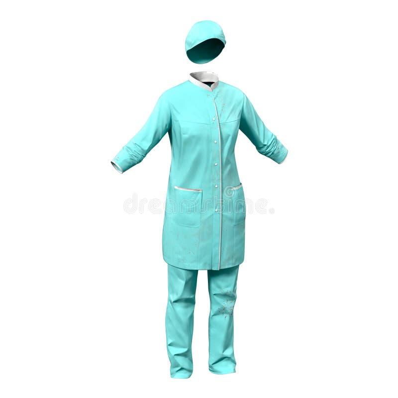 Chirurgo femminile Dress con sangue isolato su fondo bianco fotografie stock libere da diritti