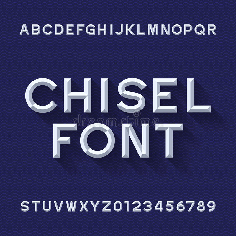 Chisel Alphabet Vector Font. Type letters and numbers. Blue wave background. Chiseled block typeface for your design vector illustration