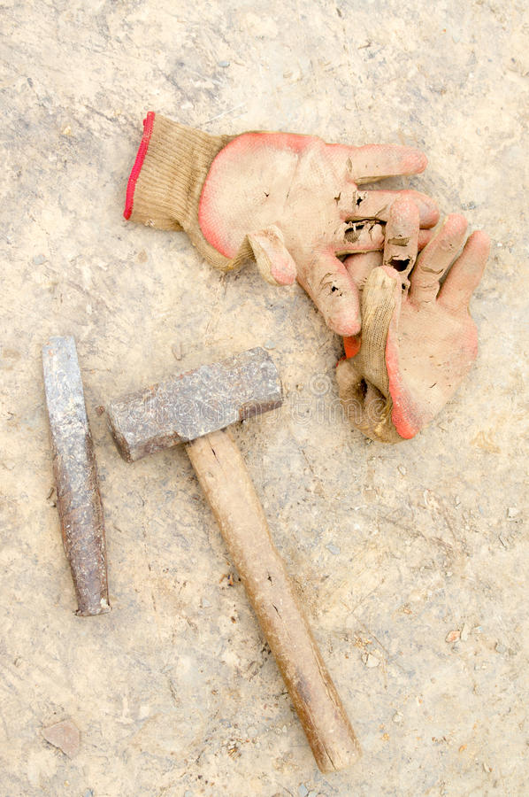 Chisel. The cold chisel and hammer royalty free stock image