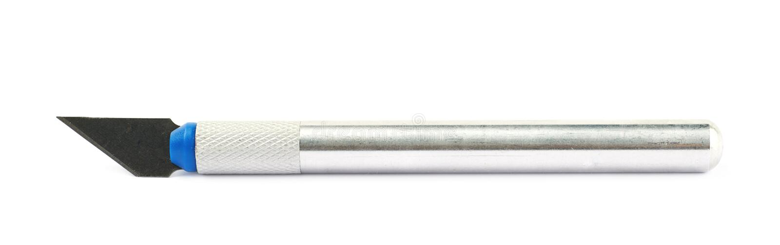 Chisel knife isolated. Metal chisel knife isolated over the white background stock photo