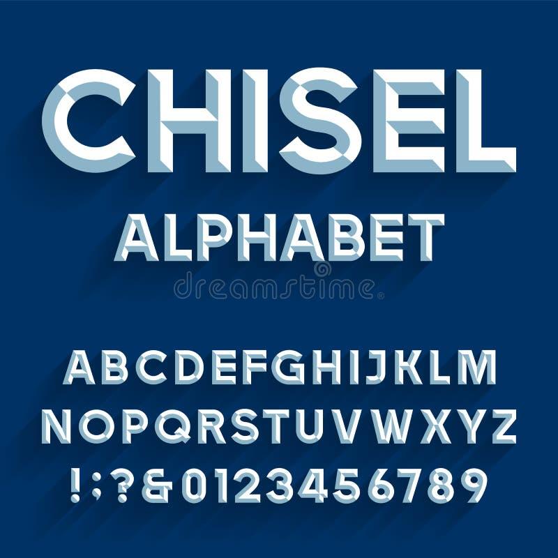 Chiseled Alphabet Vector Font. stock illustration