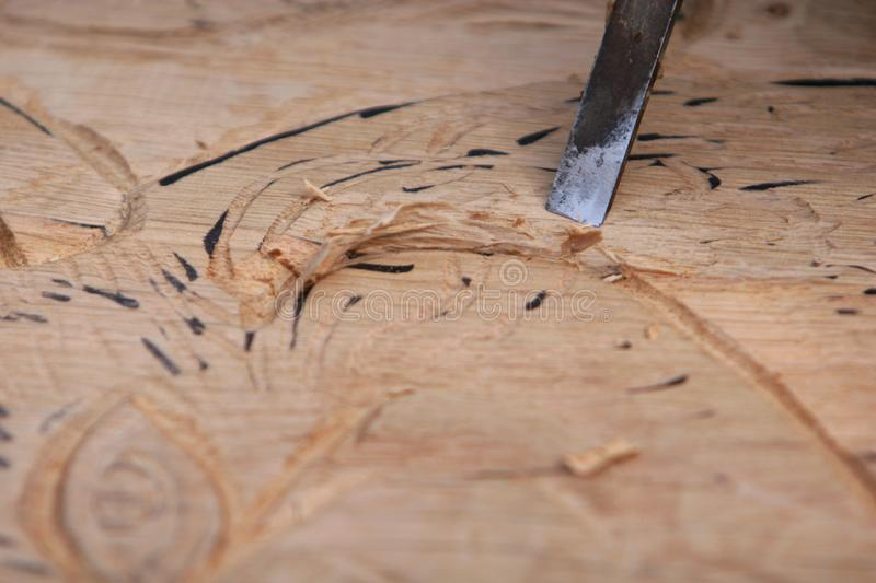 Chiseling Wood Free Stock Images
