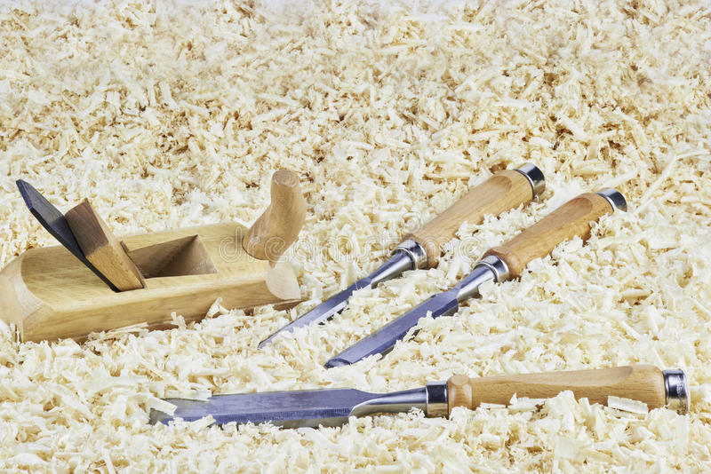 Chisels and spokeshave royalty free stock images
