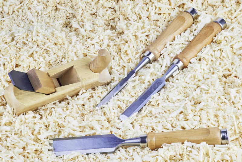 Chisels and spokeshave stock photography