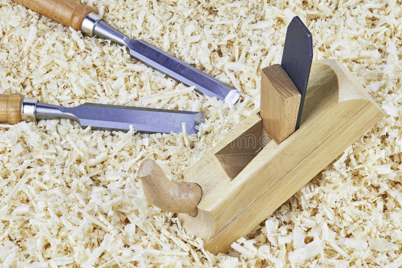 Chisels and spokeshave stock photo