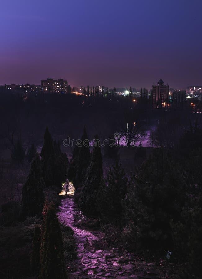 Chisinau, capitale de Moldau, vue de ci-dessus la nuit d'une PA images libres de droits