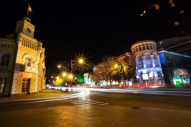 Chisinau en noche fotos de archivo libres de regalías
