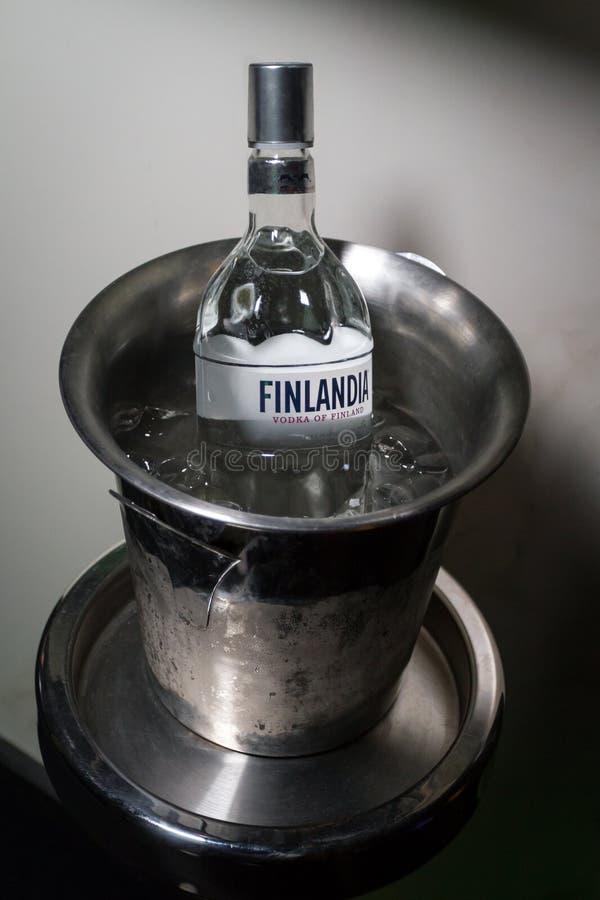 Chisinau Moldavien - Februari 02, 2016: en flaska av vodka Finlandia i en ishink arkivbilder