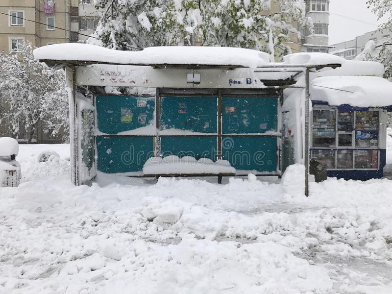 Heavy snowfall hits Chisinau in the middle of spring royalty free stock photos