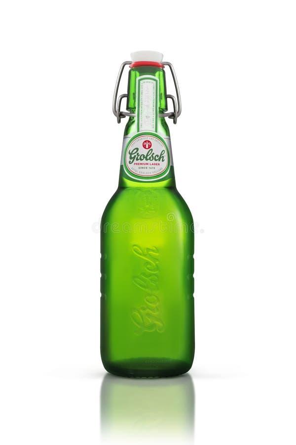 Bottle of Grolsch Premium Lager beer stock photo