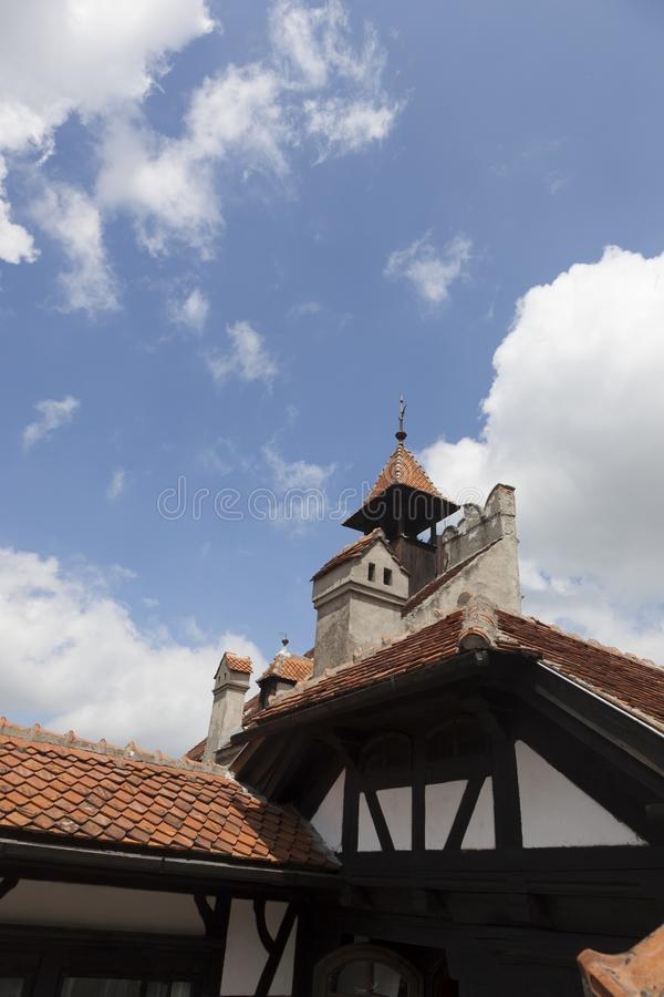 Legendary Castle, Dracula Residence in Transylvania, Romania. Chisinau, Moldova 21 June 2018: Courtyard of `Dracula` castle. Legendary Castle, Dracula Residence royalty free stock photo