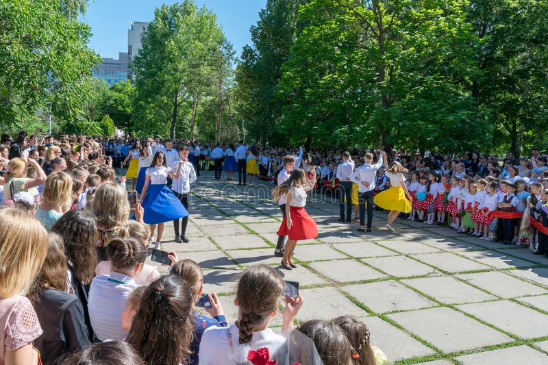 CHISINAU, MOLDOVA - MAY 31, 2018: The last dance for the high-school students traditon in Chisinau, Moldova stock photography