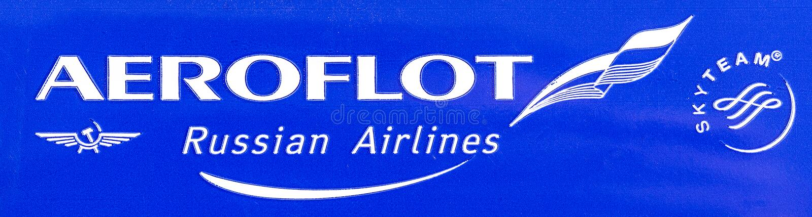 Close-up shot of banner with SkyTeam logo royalty free stock image