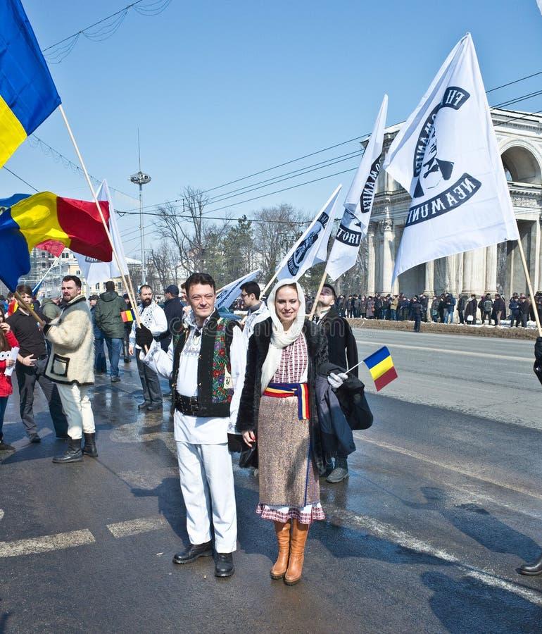 Chisinau, República del Moldavia, marzo, 25to, 2018, gran asamblea centenaria fotografía de archivo