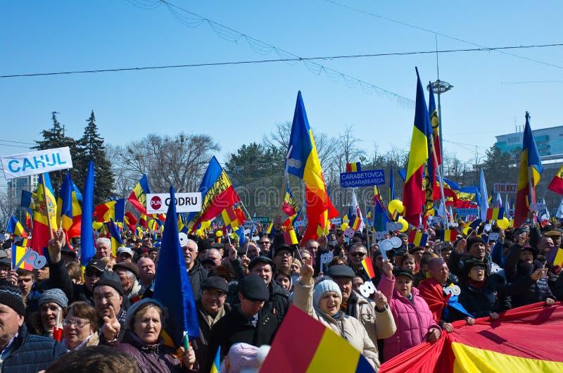 Chisinau, República del Moldavia, marzo, 25to, 2018, gran asamblea centenaria imágenes de archivo libres de regalías