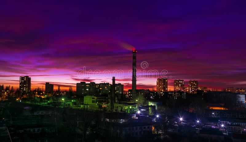 Chisinau, Republic of Moldova. Aerial view at sunset, December 2 royalty free stock photos
