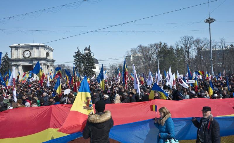 Chisinau, republika Moldova, Marzec, 25th, 2018, Wielki stulecie zgromadzenie fotografia stock