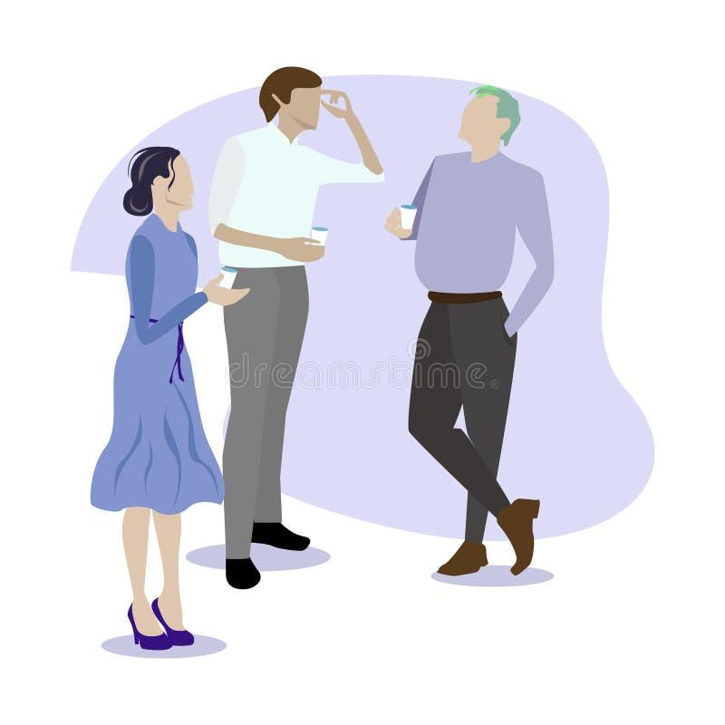 Chisme y discurso del colega de la gente Descanso para tomar caf? ilustración del vector