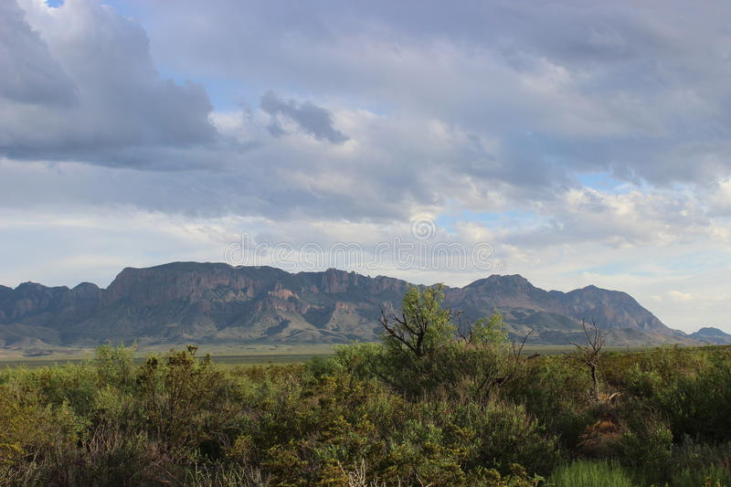 Chisos mountain range in Big Bend National Park. View of the chisos mountains as a storm rolls through n Big Bend National Park stock photos