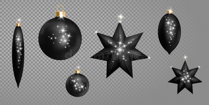 Chispa de plata de oro del negro 3d de la Navidad de la bola del abeto de los juguetes de la forma realista de la estrella Direcc libre illustration