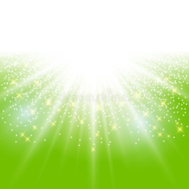 Chispa del efecto de la luz del sol en fondo verde con el SP de la copia del brillo ilustración del vector