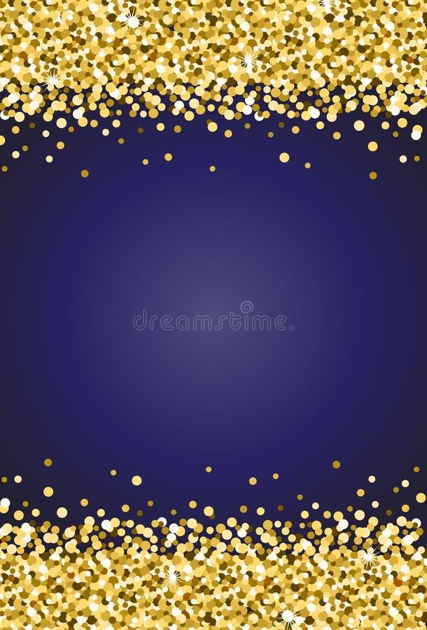Chispa vertical del reflejo del oro en el vector 2 del fondo del azul real stock de ilustración