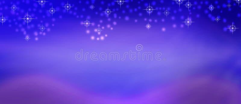 Chispas abstractas y nieve brillantes que caen en púrpura borrosa y fondo azul libre illustration