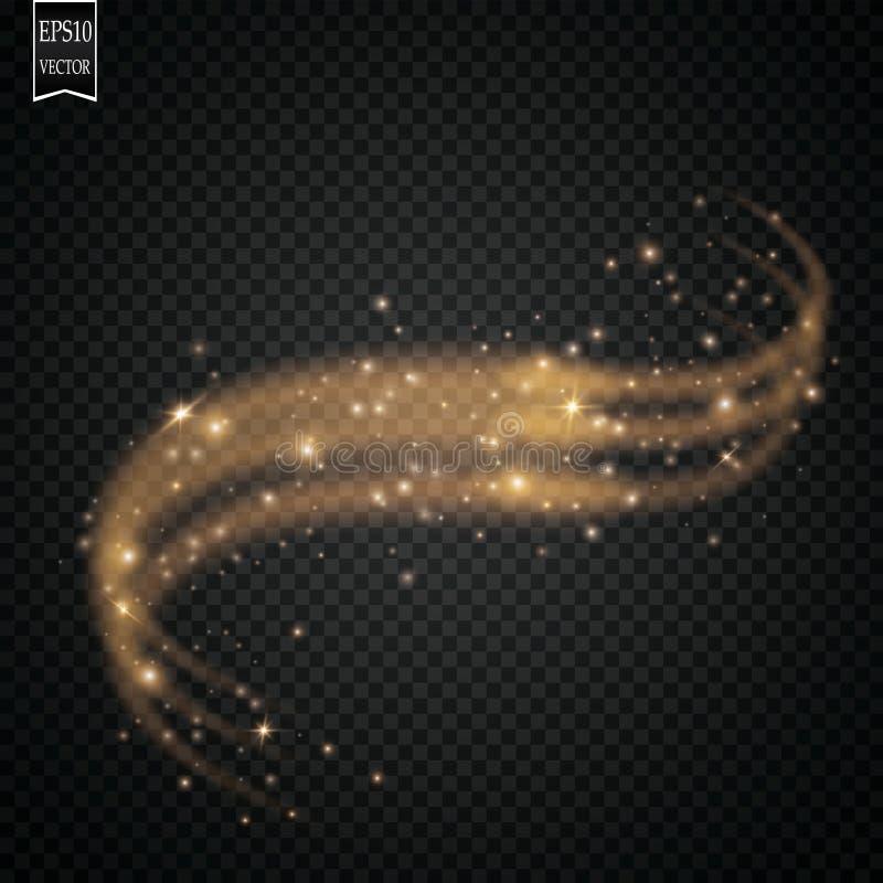Chispas y efecto luminoso especial del brillo de las estrellas Párticulas de polvo mágicas chispeantes stock de ilustración