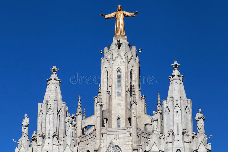 Christ the Redeemer of the Tibidabo Basilica royalty free stock photography