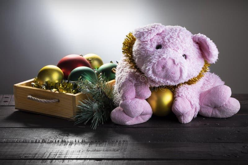 Chistmas bakgrund med bollar för leksaksvin och för nytt år Närvarande kort, nytt år av svinet, zodiaksymbol 2019 royaltyfri foto