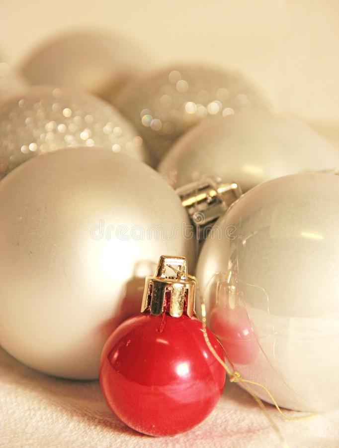 Chistmas balls red and silver stock image