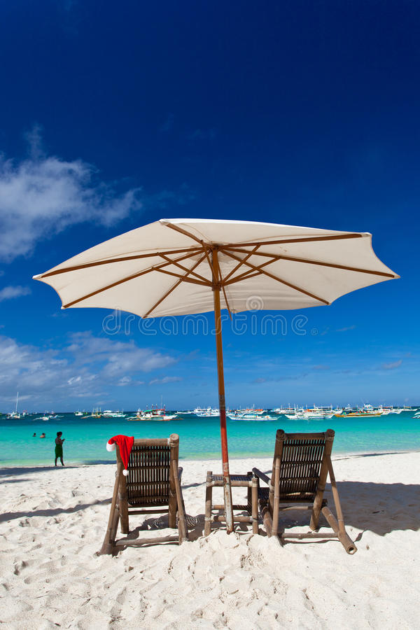 Download Chistmas on tropical beach stock photo. Image of longue - 27568034