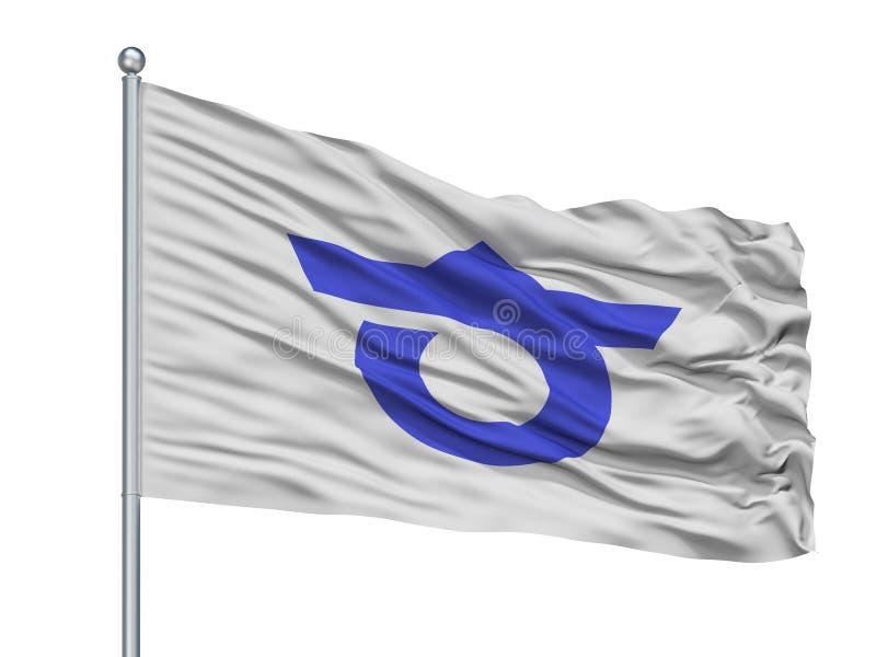 Chita City Flag On Flagpole, Japón, prefectura de Aichi, aislada en el fondo blanco libre illustration