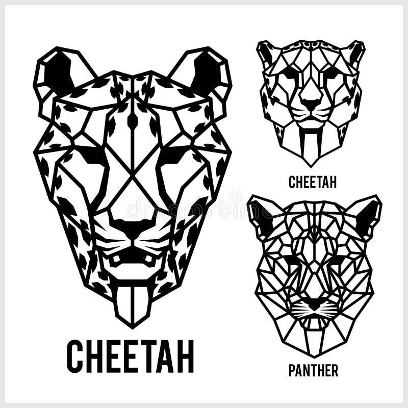 Chita e chifre - ícones de cabeças de animais. Ilustrações geométricas vetoriais de animais selvagens ilustração royalty free