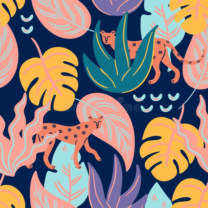 A chita está na selva Teste padrão sem emenda do vetor tropical na moda ilustração royalty free