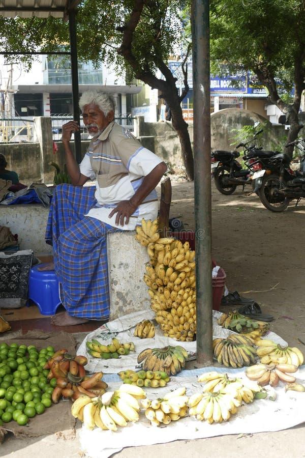 Chitambaram, mercato locale di verdure all'aperto fotografia stock