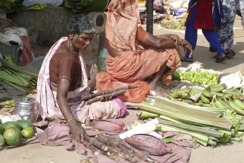 Chitambaram, mercato locale di verdure all'aperto fotografia stock libera da diritti
