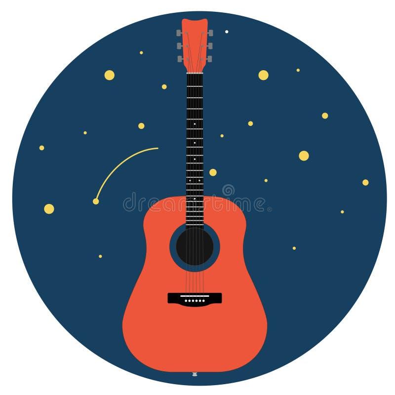 Chitarra acustica contro il cielo stellato isolato sull'illustrazione bianca di vettore del fondo royalty illustrazione gratis