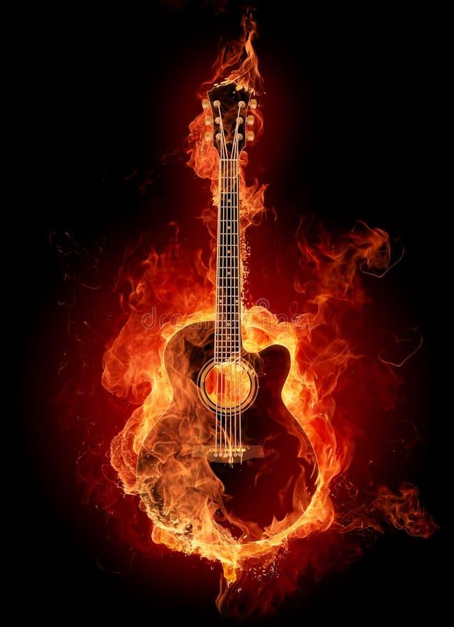 Chitarra acustica del fuoco illustrazione vettoriale