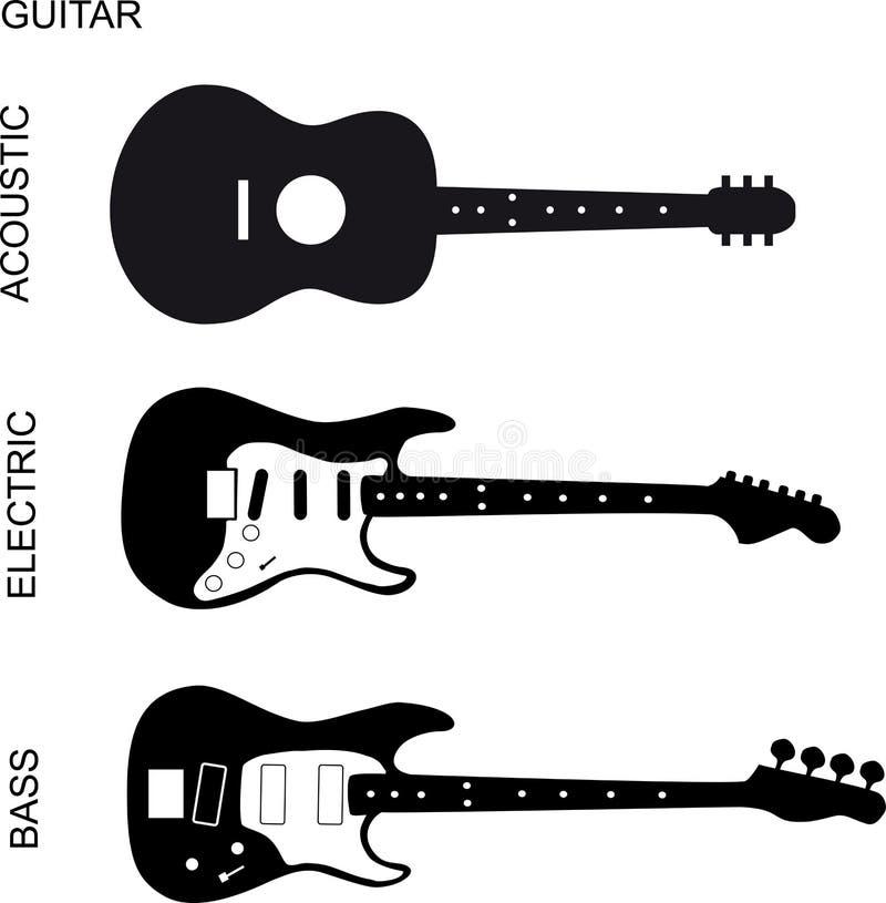 Chitarra acustica, elettrica e bassa royalty illustrazione gratis