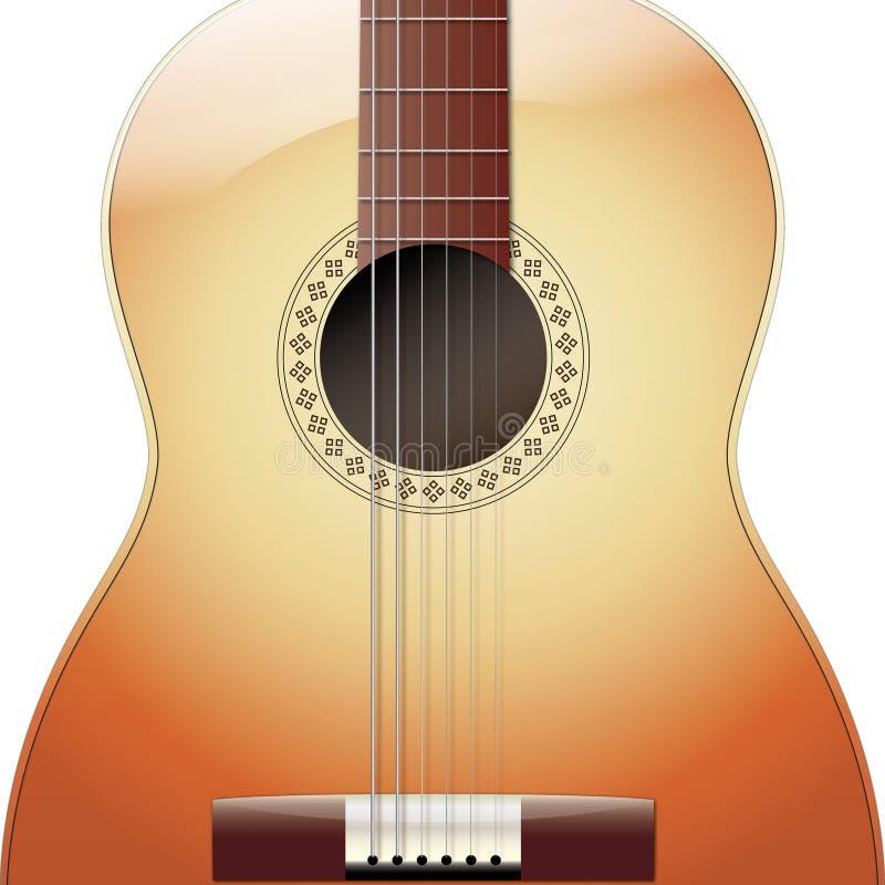 Chitarra acustica isolata su fondo bianco immagine stock libera da diritti