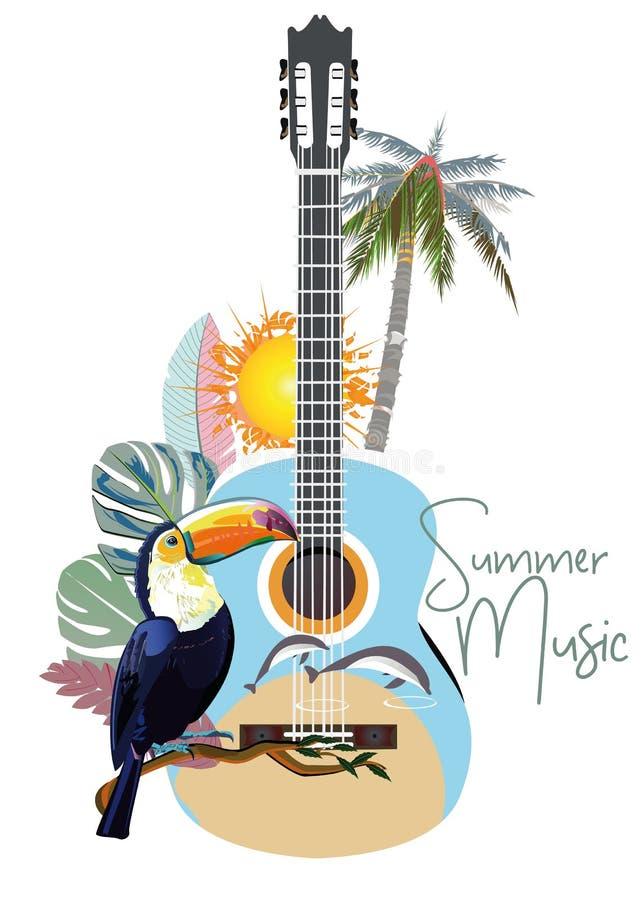 Chitarra astratta decorata con i fiori della primavera e di estate, foglie di palma, note, tucano royalty illustrazione gratis