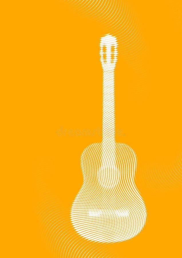 Chitarra bianca sui precedenti arancioni immagine stock