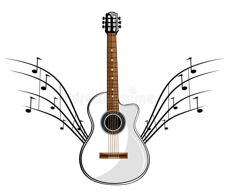 Chitarra classica bianca royalty illustrazione gratis