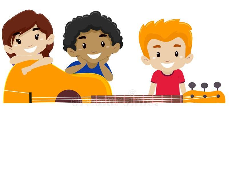 Chitarra con i bambini dietro fondo illustrazione vettoriale