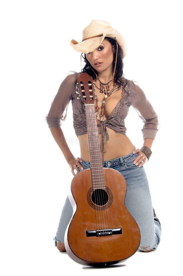 Chitarra del Cowgirl fotografia stock