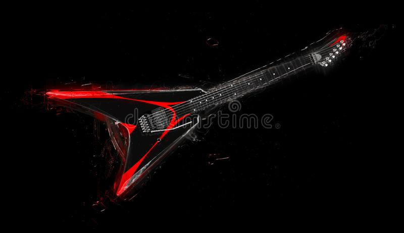 Chitarra di metalli pesanti nera con il lavoro su ordinazione rosso della pittura - illustrazione 3D illustrazione di stock