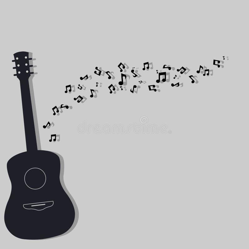Chitarra e nota musicale fotografia stock